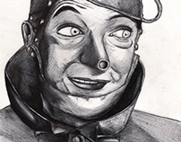 Tin Man, biro illustration.