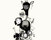 Reinventing memories. White illustration for kids