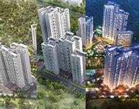 High-rise apartments Aerial view 3d Exterior