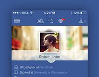 Facebook iOS 7  Redesign Concept