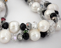 hand made pearl  bracelets with colored crystals