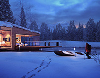Winter lakeside cottage – CG illustration