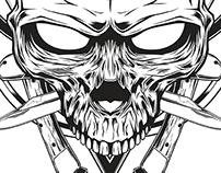Skull knife illustration