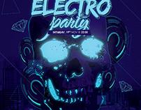 Electro Skull Poster