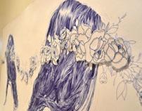Blue Biro/Cotton Embroider Art Final