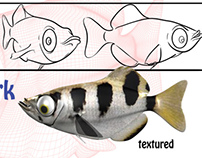 """Squirt"" (archerfish) character design"