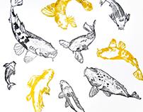 Koi fish linocut