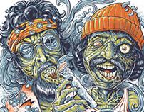 Cheech and Chong Zombies T-Shirt Illustration
