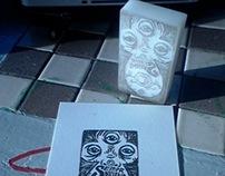 lino cut, carvings & ceramic