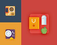 Flat timeline icons