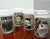 咖啡杯上的Sweet Spring 系列插画作品