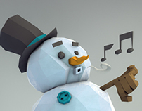 Snow Dude goes for a stroll
