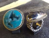 925 sterling silver rings with variety gemstones