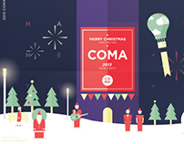 COMA Wine party poster - Merry christmas happy new year
