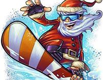 Santa Claus Snowboarding Christmas