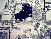 spaceship - wall decor