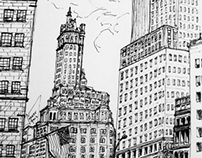 Ink drawings of New York City