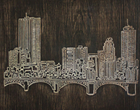 One Line Engraving of Boston