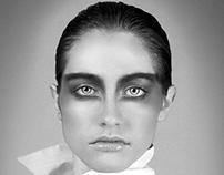 Black and white portrait of Vanessa