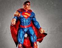 "16"" SUPERMAN vs DARKSEID SCULPTURE FIBERGLASS"