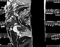 Piazzolla en el Gimnasio (newspaper illustration)