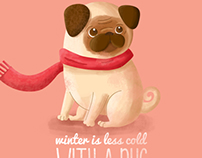 winter is less cold with a pug