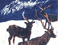 winter woodcut
