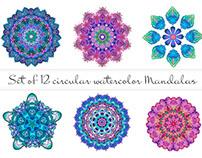 Set of 12 circular  watercolor mandalas