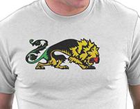 Grunge Reggae Lion Heraldic T Shirt and Metal Canvas