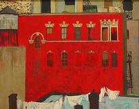 Manhattan. Red house in chinatown.