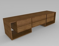 Wood TV chest with 6 drawers