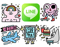 Line Stickers - A Friendly Mutant Family