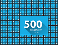 Set of 500 Quality long Shadow icon