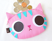 Pinky kitty coin purse
