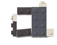 Lego type illustration and magazine cover