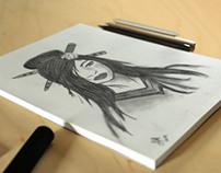 Geisha - Charcoal Paintings