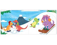 """""""The Dinosaurs' Garden Year"""" Children's Book Spread"""