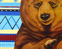 Animals illustrations on canvas