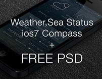 Weather,Sea Status & ios7 compass +FREE PSD