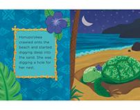 """Kauila the Hawaiian Sea Turtle"" Children's Book Spread"