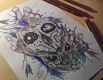 OWL SKULL WATERCOLOR TATTOO