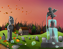 Halloween Themed Game Background for Children