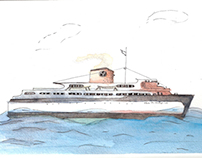 Ship postcards (watercolor)