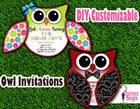 Free DIY Customizable Owl Invitation Printable Template