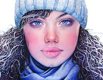 Winter Girl, Colored Pencil 2014