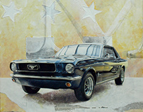 blue and yellow mustang 1966