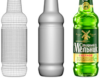 3D Model of beer bottle with droplets