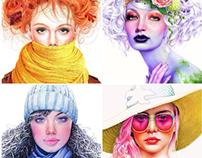 Colored Pencil Season Girls