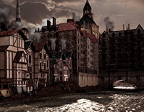 3D rebuilt, Paris, Pont au change, XVII century