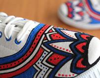 Custom Sneakers (BlueRed Flower)
